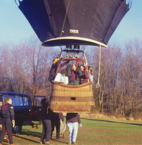 Pamela Jane in a hot air balloon