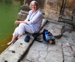 Sally at the Roman Baths (in Bath) where Jane Austen lived from 1801-1806,. Her novels Persuasion and Northanger Abbey are set there.